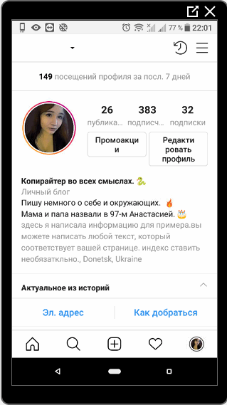 An example of a personal page from an Instagram mobile phone