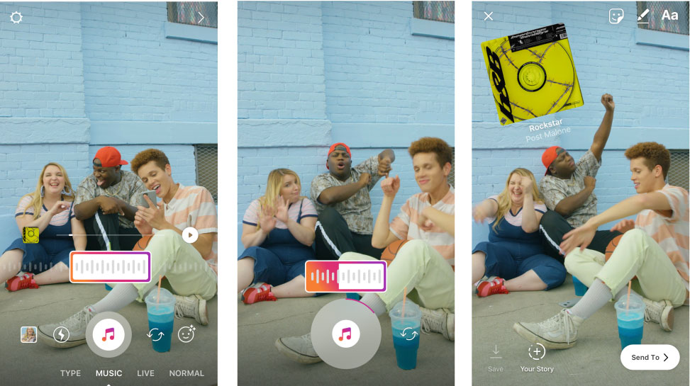 add music to Instagram History iPhone on photos and videos