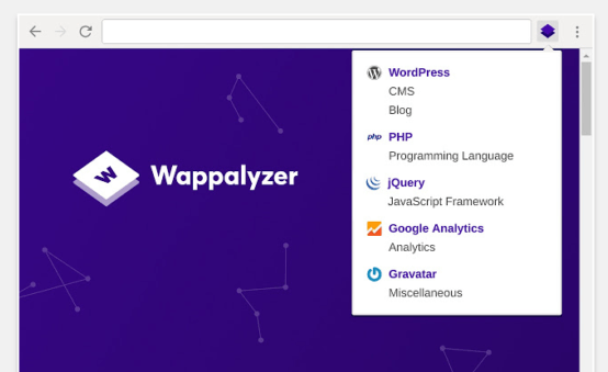 Extension for browsers Wappalyzer