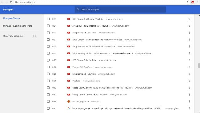 Chrome browser history